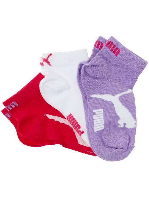 Lot de 3 paires de socquettes 'Puma' à tige courte                                                                                                                 rose/blanc/mauve Garcon adolescent