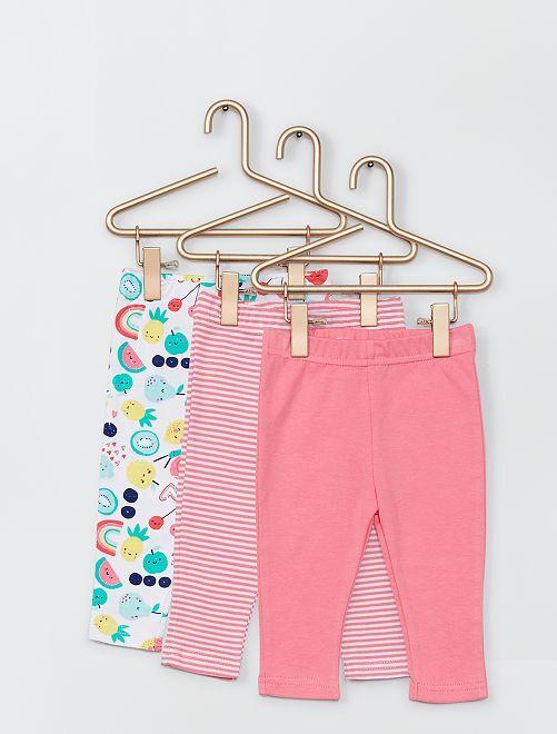 Lot de 3 pantalons                             rose/blanc