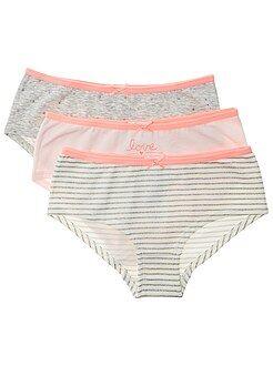 Sous-vêtement - Lot de 3 shorties imprimés en coton stretch - Kiabi