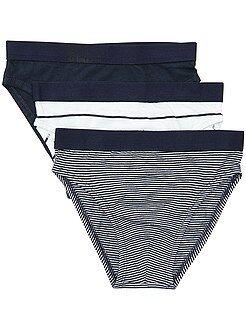 Sous-vêtement - Lot de 3 slips en pur coton - Kiabi