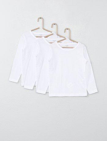 Lot de 3 tee-shirts manches longues en coton                              blanc Fille