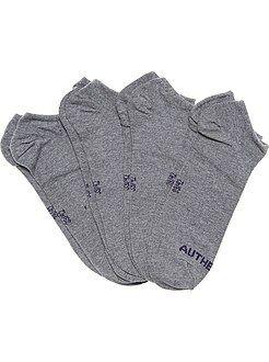 Chaussettes blanc - Lot de 4 paires de chaussettes invisibles
