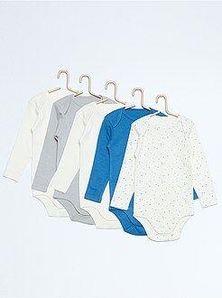 Sous-vêtement - Lot de 5 bodies manches longues pur coton