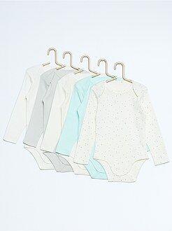 Sous-vêtement - Lot de 5 bodies manches longues pur coton - Kiabi