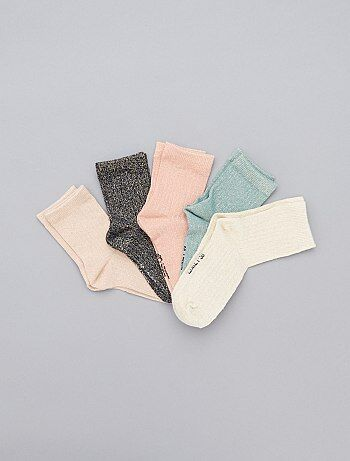 Lot de 5 de chaussettes brillantes - Kiabi