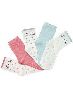 Fille 3-12 ans Lot de 5 paires de chaussettes avec fils brillants