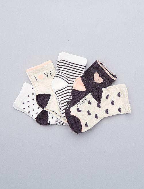 Lot de 5 paires de chaussettes gris/écru/saumon Bébé fille