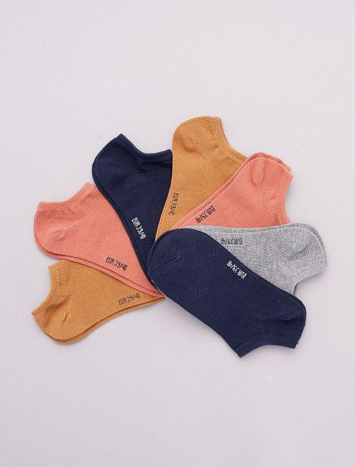 Lot de 7 paires de chaussettes invisibles                                                                                         beige/bois de rose/gris/marine