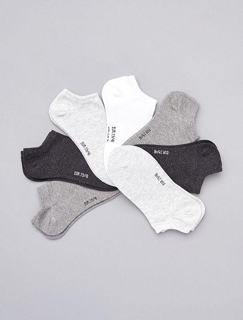 Lot de 7 paires de chaussettes invisibles                                                                 gris blanc