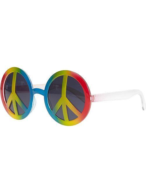 Lunettes rondes en plastique peace and love                             multicolore Femme