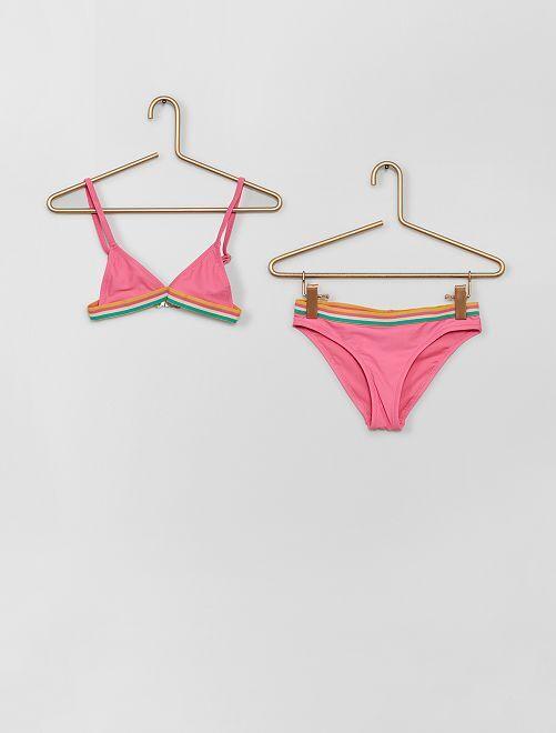 Maillot de bain 2 pièces bande élastiquée                                         rose