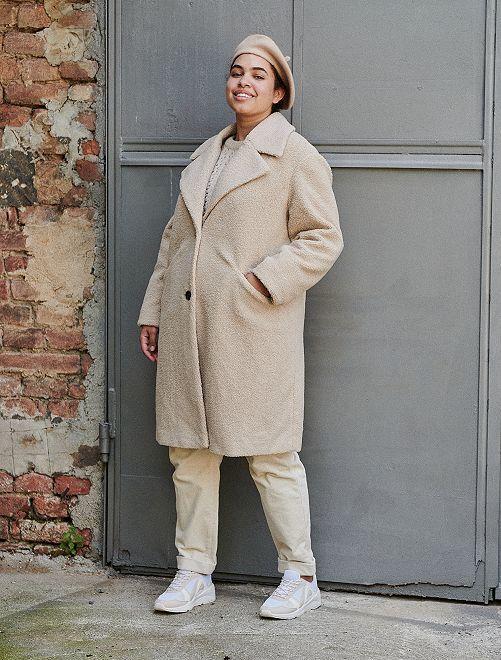 Manteau en maille bouclette                             crème