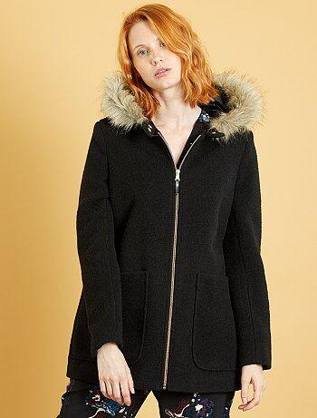 manteau esprit lainage capuche femme vert sapin kiabi 35 00. Black Bedroom Furniture Sets. Home Design Ideas