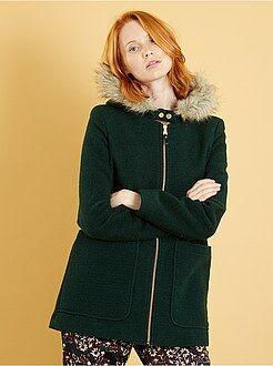 Manteau - Manteau esprit lainage à capuche