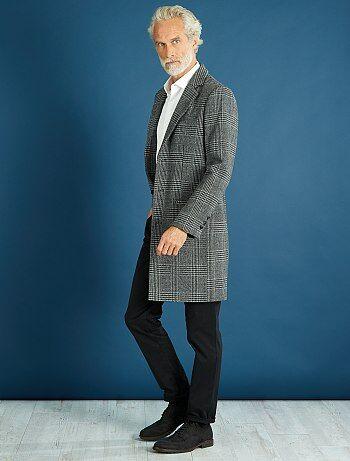 Manteau long effet lainage à carreaux - Kiabi