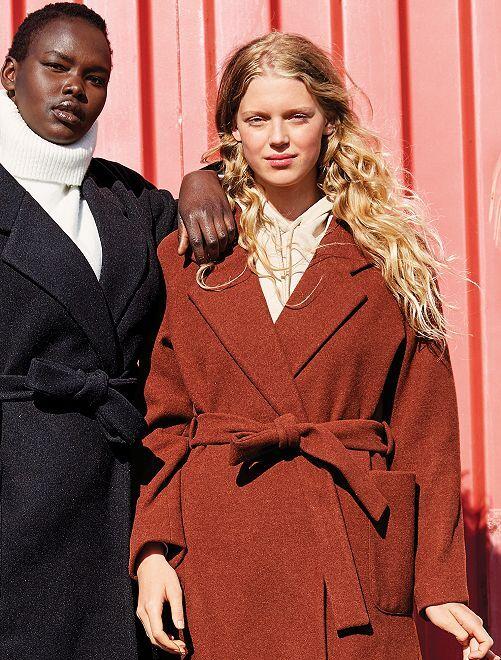 Manteau long effet 'peignoir'                     marron