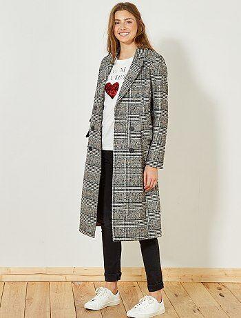 Femme du 34 au 48 - Manteau long en laine 'Prince de Galles' - Kiabi