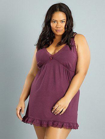 Grande taille femme - Nuisette en jersey stretch, volants et dentelle - Kiabi