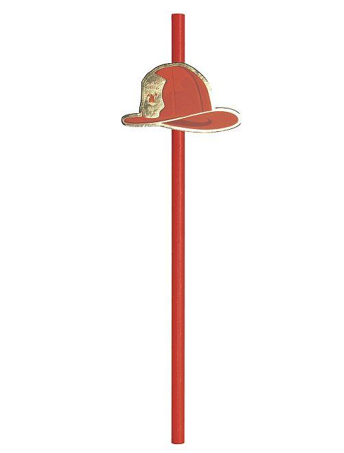 Pailles thème 'pompiers'                             rouge