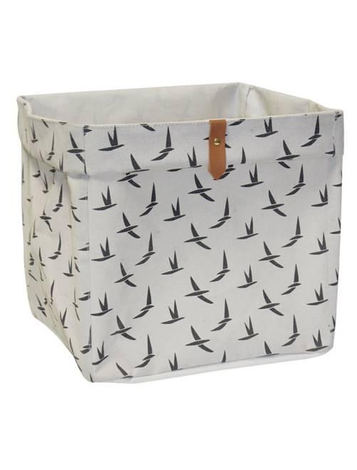 Panier de rangement cubique                                             beige/oiseaux Linge de lit