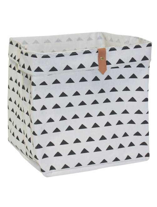 Panier de rangement cubique                                                                                         écru/triangles Linge de lit