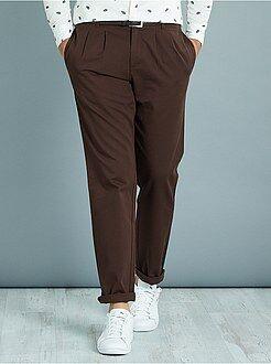 Pantalon slim - Pantalon chino à pinces coupe slim