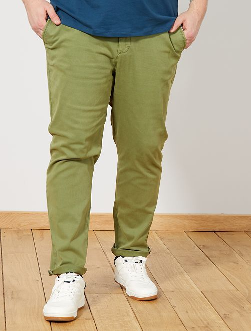 pantalon chino fitted en twill grande taille homme vert. Black Bedroom Furniture Sets. Home Design Ideas
