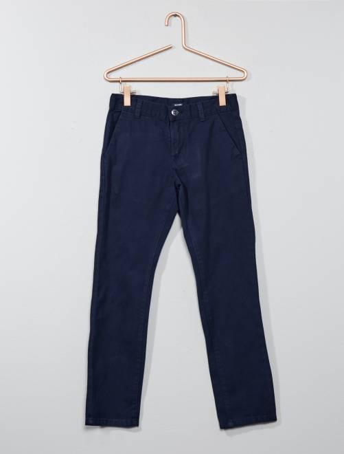 pantalon chino regular gar on bleu marine kiabi 8 00. Black Bedroom Furniture Sets. Home Design Ideas