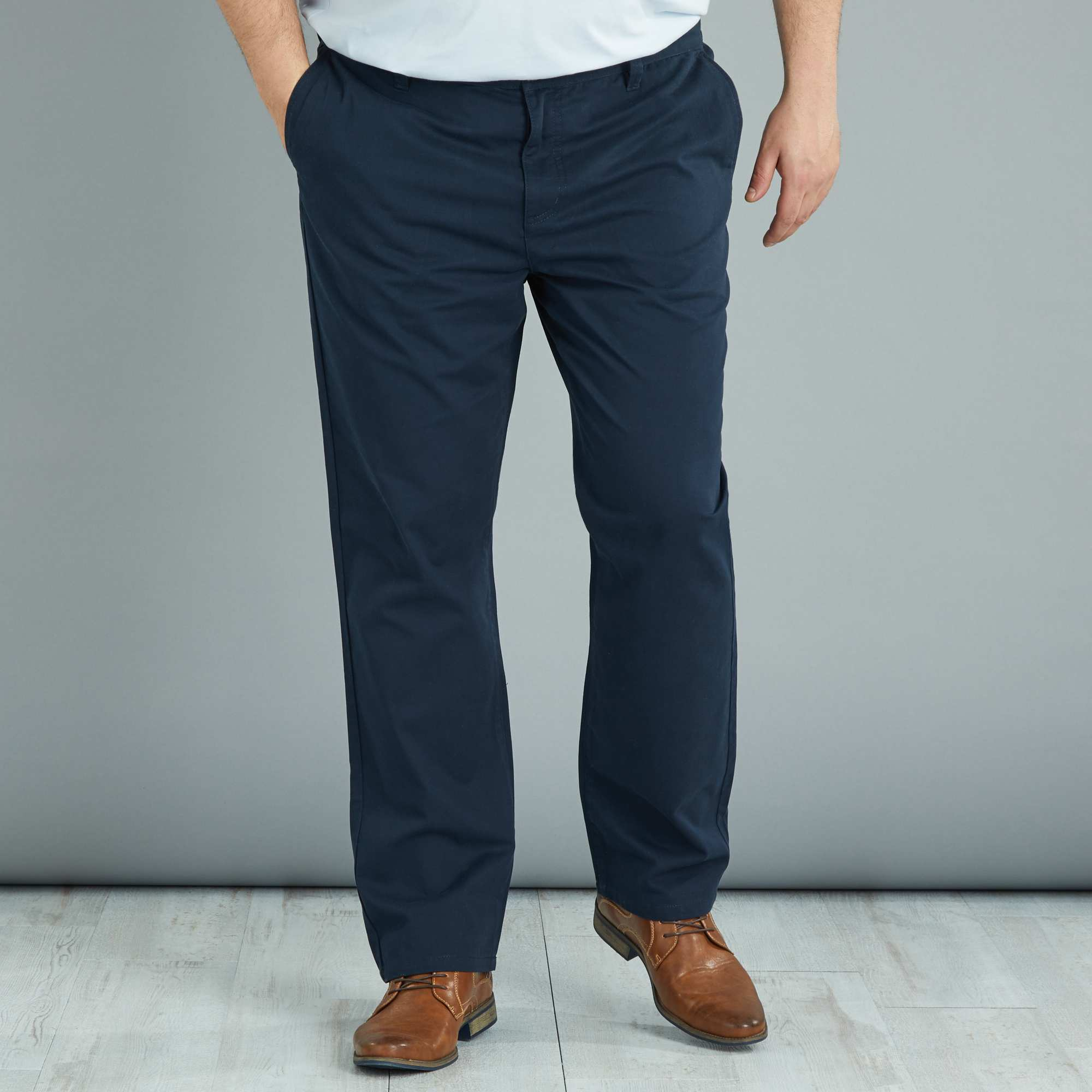 pantalon chino regular en twill grande taille homme bleu marine kiabi 22 00. Black Bedroom Furniture Sets. Home Design Ideas
