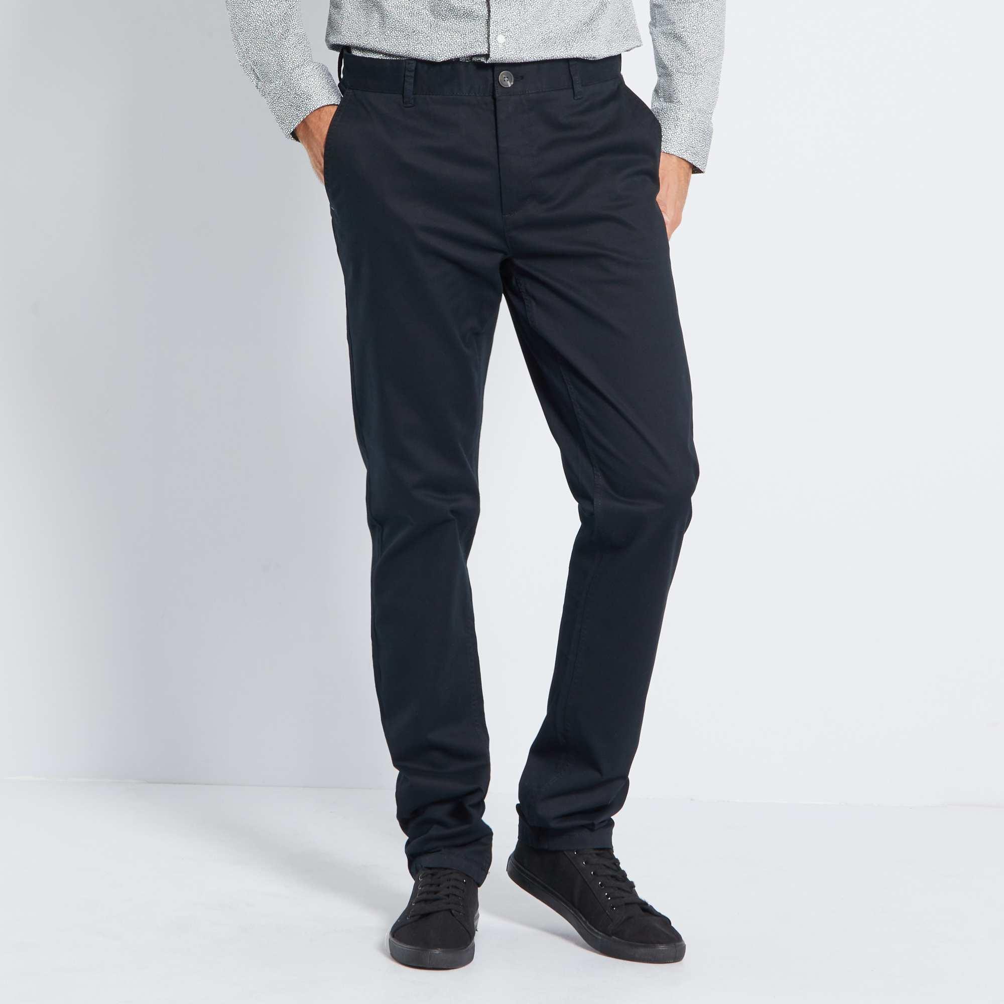 pantalon chino slim stretch l36 1m90 homme noir kiabi 22 00. Black Bedroom Furniture Sets. Home Design Ideas