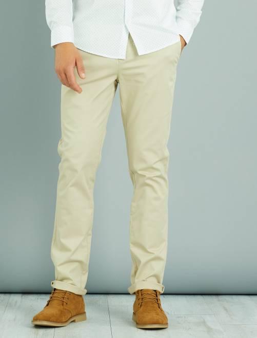 Pantalon chino slim twill stretch beige Homme
