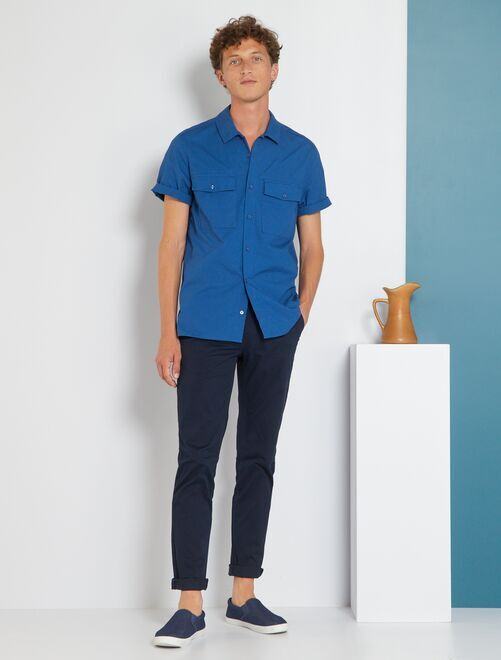 Pantalon chino slim twill stretch                                                                                                                                                                                         bleu marine Homme