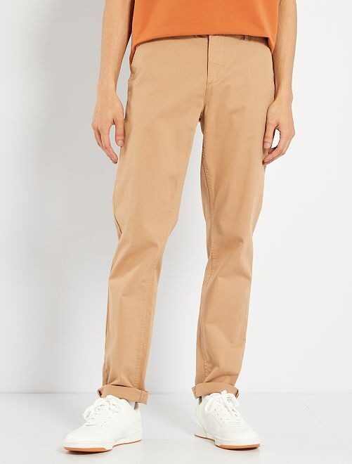 Pantalon chino slim twill stretch camel Homme