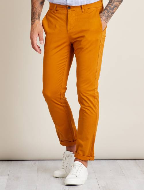 Pantalon chino slim twill stretch                                                                                                                                                                 jaune moutarde Homme