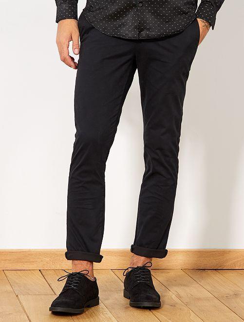 Pantalon chino slim twill stretch                                                                                                                                                                 noir Homme
