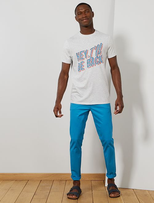 Pantalon chino slim twill stretch                                                                                                                                                                                                     turquoise Homme