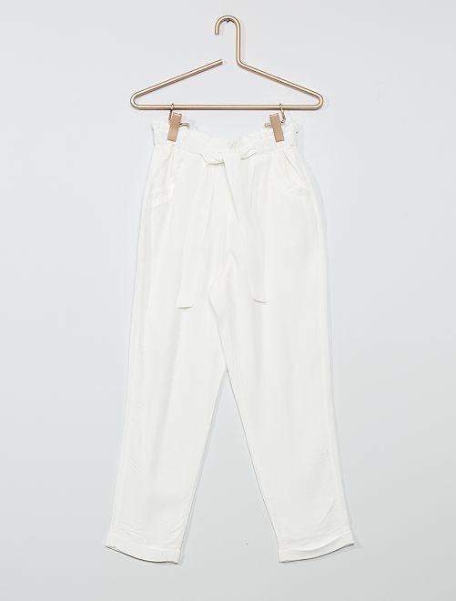 Pantalon crêpe large                             blanc