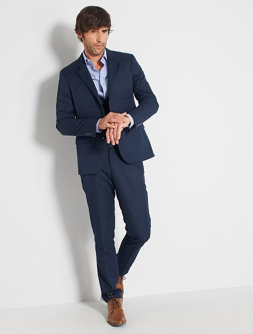 Pantalon de costume slim en twill bleu marine Homme