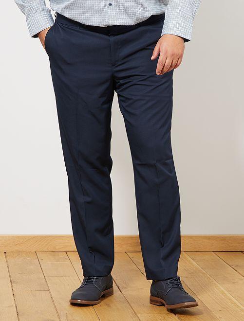 Pantalon de costume uni coupe droite bleu navy Grande taille homme
