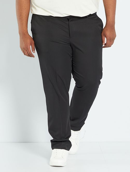 Pantalon de costume uni coupe droite noir Grande taille homme