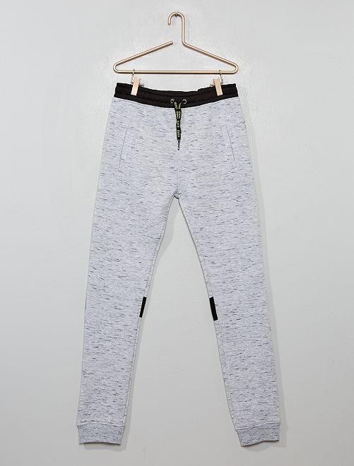 Pantalon de jogging chiné bicolore                             gris