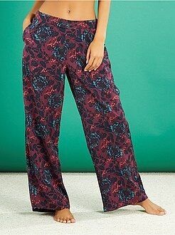 Pyjama, nuisette - Pantalon de pyjama satiné imprimé