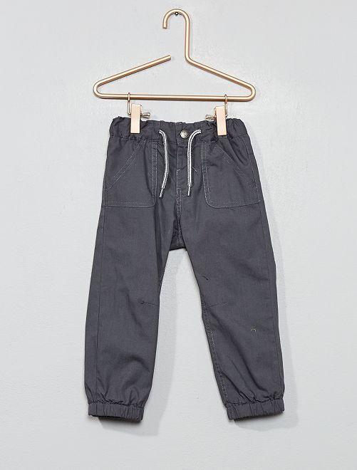 Pantalon droit en popeline                                 gris