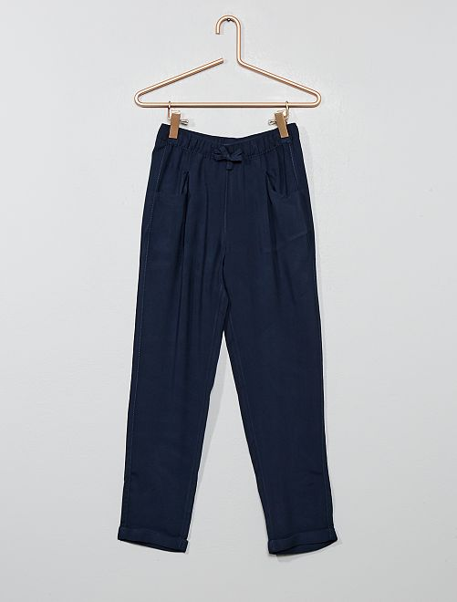 Pantalon droit fluide                                         bleu marine