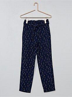 Pantalon - Pantalon droit matière fluide imprimé - Kiabi