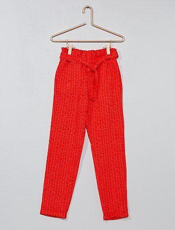 Pantalon droit matière fluide imprimé - Kiabi