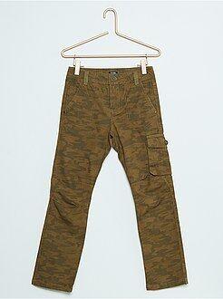 Pantalon - Pantalon droit style battle en coton canvas