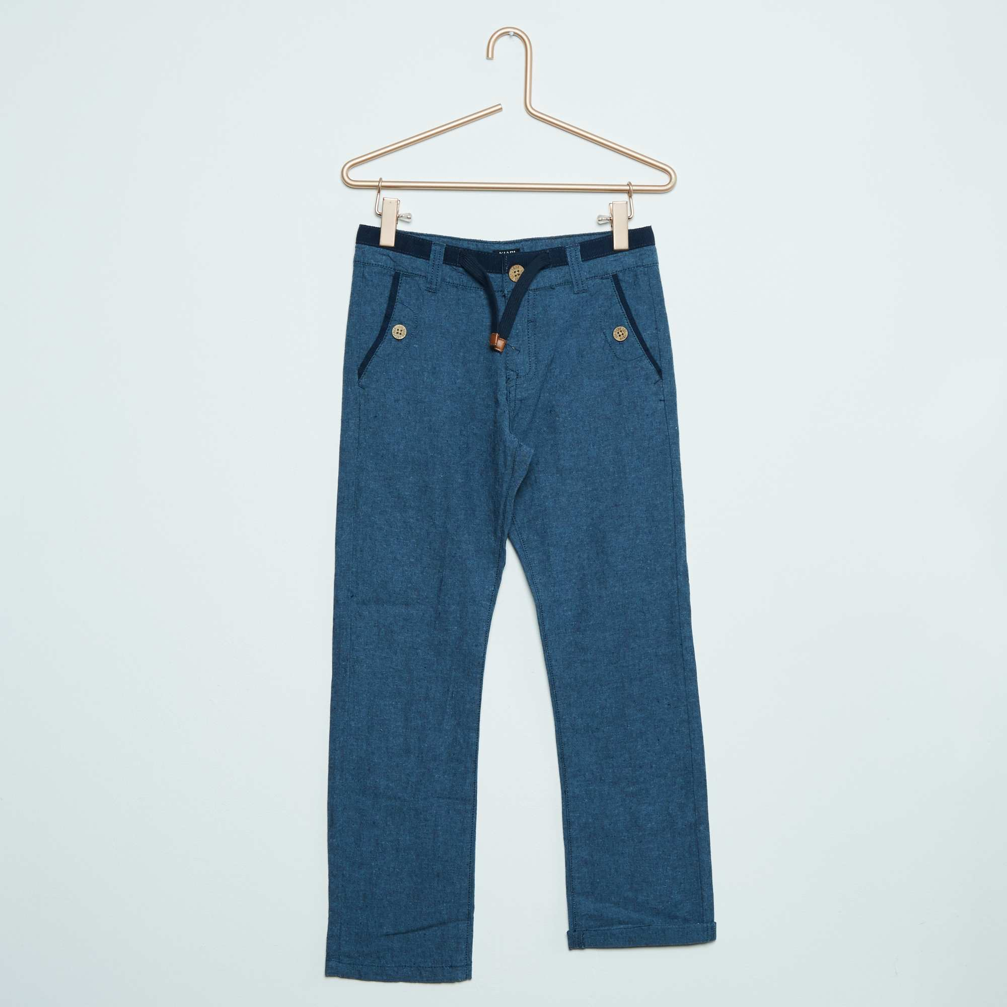 pantalon en coton et lin gar on kiabi 15 00. Black Bedroom Furniture Sets. Home Design Ideas