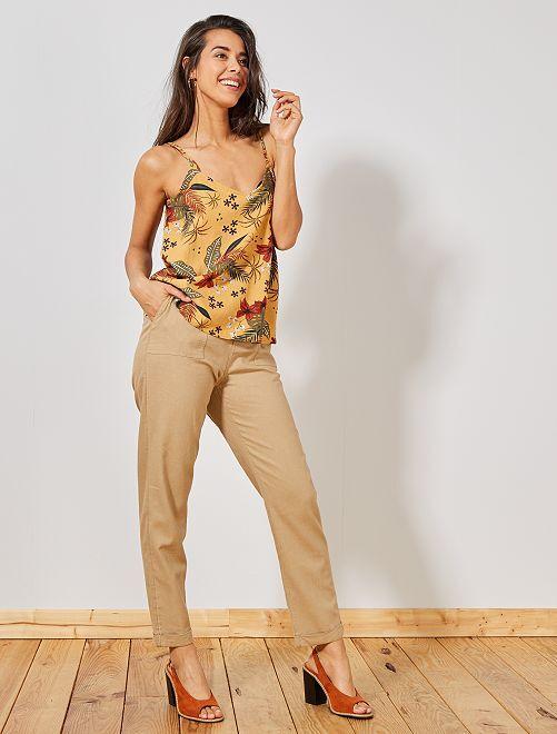 Pantalon en lin et viscose                             beige Femme