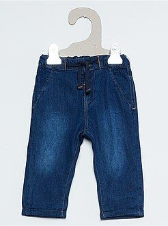 Pantalon, jean, legging - Pantalon façon denim doublure jersey